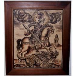 Socarrat pintada con grabado de San Jorge. 37,5 x 32 cm. enmarcado.