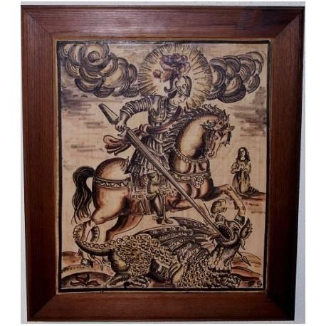 Socarrat verniciato con incisione di San Giorgio. 37.5 x 32 cm. incorniciato.
