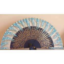 Abanico español con certificado. de madera. Pintado y hecho a mano, azul. diseño