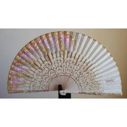 Spanish hand fan with certificate. Painted and handmade, light ivory. london