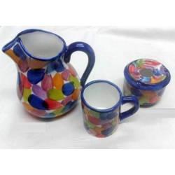 Brocca. posacenere. tazza di ceramica fatti a mano. Arcobaleno. fatto a mano