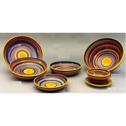 vajilla de cerámica artesanal con rayas. comprar. madrid