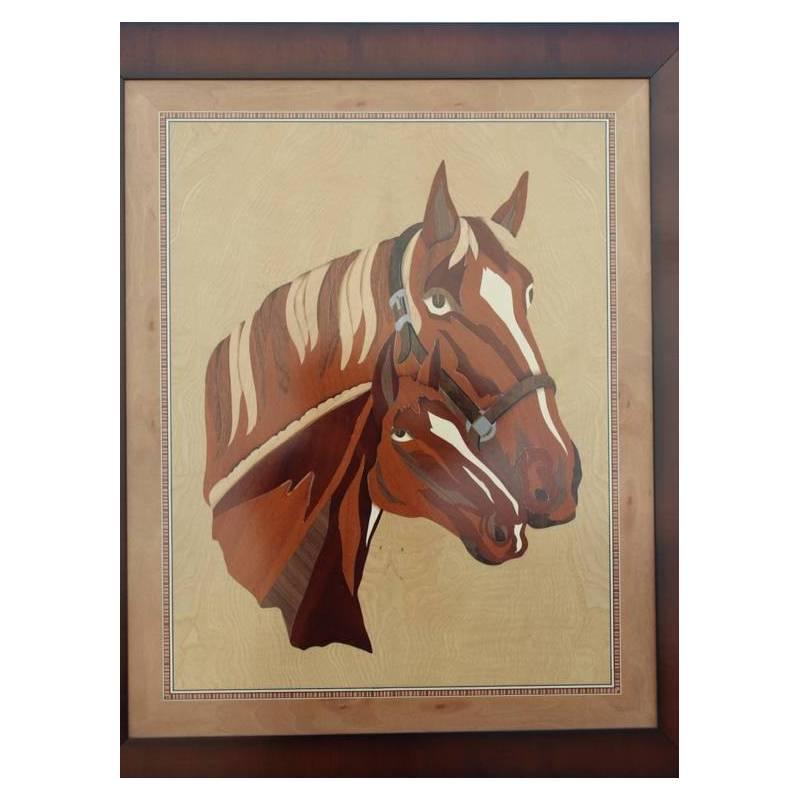 Cuadro de marqueter a caballos hecho a mano valencia - Madera para marqueteria ...