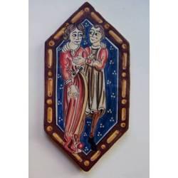 Alfardo baldosa de cerámica. Pintura de la techumbre de la Catedral de Teruel. Enamorados