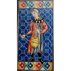 Telha, cerâmica vihuela de arco. Músico de Cantigas de Santa Maria.