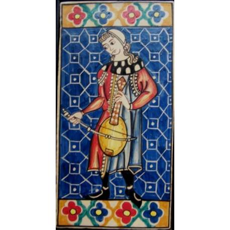 Tile, ceramic arc vihuela. Musician of the Cantigas de Santa Maria.