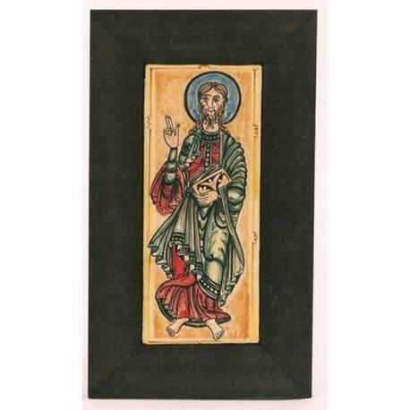 Santiago Apôtre, miniature du Codex Calixtinus, carrelage peint à la main