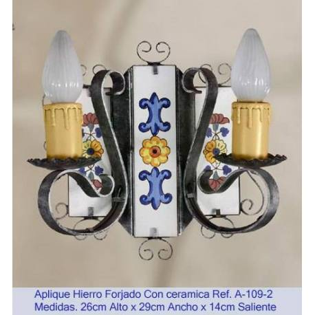 Apparecchi di illuminazione in ferro battuto. Applique in ferro battuto rustico. A-109/2