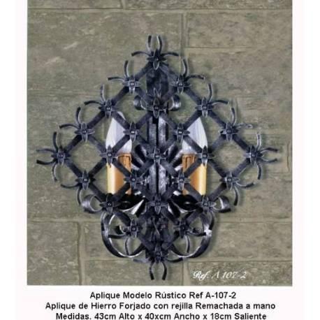 Luminárias de ferro forjado. Arandelas de ferro rústico. A-107-2