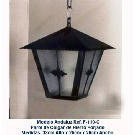 Wrought iron lanterns for lighting. Rustic Lantern Forge. F-110 / C