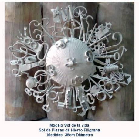 Regalo en forja. decoración forja. artículos regalo de forja. sol de vida