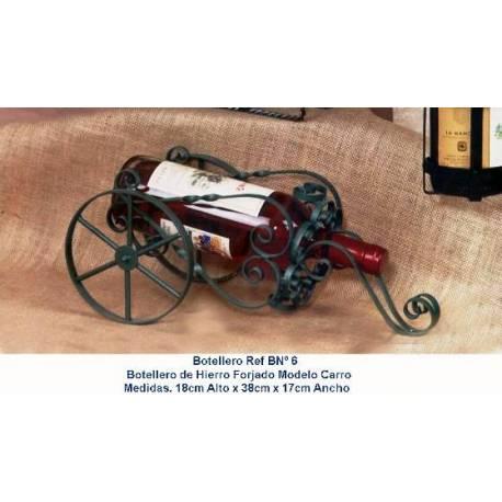 Botellero de forja con carrito. hecho a mano