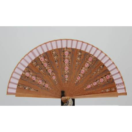 Spanish hand fan with certificate. Painted and handmade, natural pink