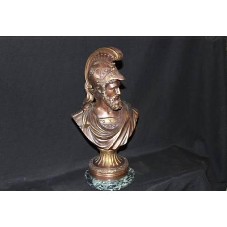 Obra en bronce. Busto de bronce. Eneas. hecho a mano