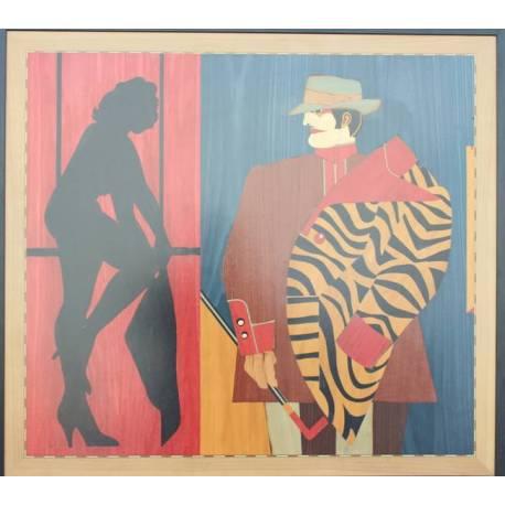 Quadri arte intarsio legno. Cabaret. Barcellona. Acquista