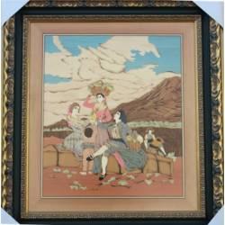 Gemälde aus Holz geschnitzte Marketerie. Goya-vintage . design