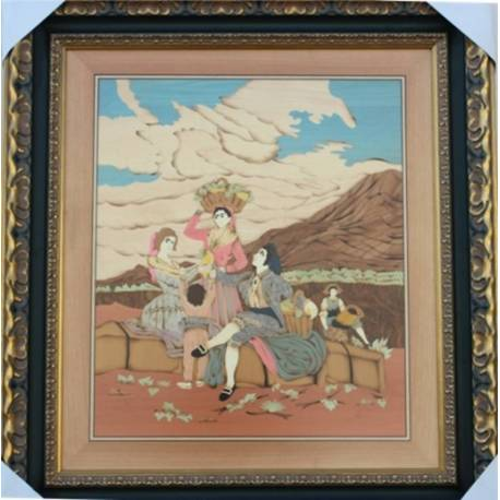 quadro em marchetaria de madeira. Vintage de Goya. feito à mão. projeto