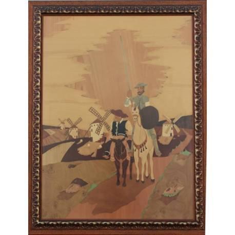 quadro em marchetaria de madeira. Don Quixote. feito à mão