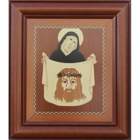 Gemälde aus Holz geschnitzte Marketerie in Intarsien gemacht. Jungfrau