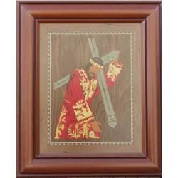 quadro em marchetaria de madeira. Cristo