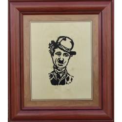 Painting marquetry. Charlie Chaplin