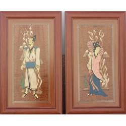 Gemalde aus holz geschnitzte marketerie Chinesischen Ehepaares