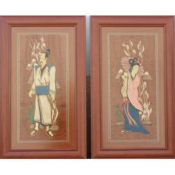 Quadri arte intarsio legno. Coppia cinese