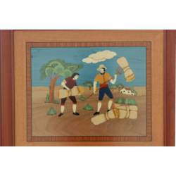 Marquetry painting. Summer Spain. handmade. craft