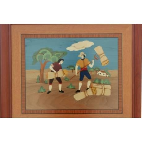 quadro em marchetaria de madeira. Espanha de verão