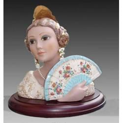 Figura de porcelana Busto de fallera con abanico y peana