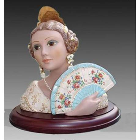Porcelain Figurine Bust faller with hand fan and stand