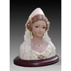 Figurine del busto di porcellana di Faller con mantello e base