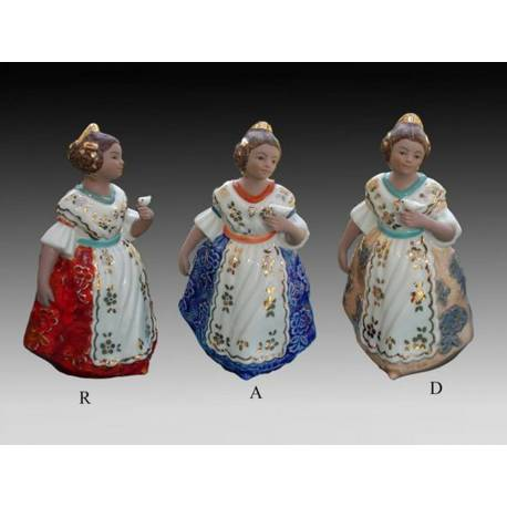 Porcelain figurines of Fallas standing with bird on pedestal, limited edition