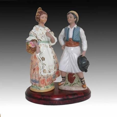 Figuras de um par de falleros série limitada, base de porcelana