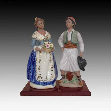 Porcelain figurines. Fallas couple with blue base. limited Edition