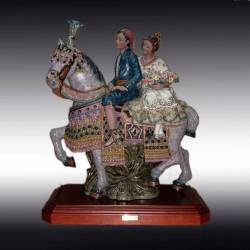 Porcelain figurines. riding, with large Valencia base, limited series