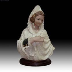 Estatuetas de porcelana. Busto de Faller com mantilha com base, limitada de série