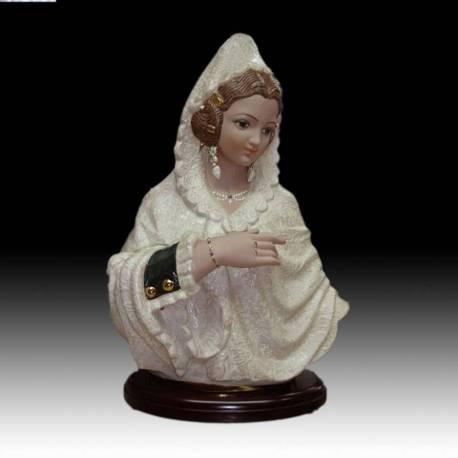 Figuras de porcelana. Busto de fallera con mantilla grande con peana, serie limitada