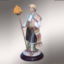 Figurine de porcelaine, Saraguel Valenciano avec oranges avec la pinata de pieds de lit, série limitée