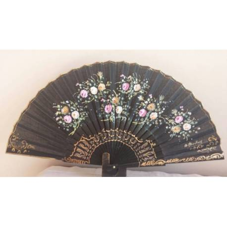 Spanish hand fan. wood. gift . Painted and handmade, in black