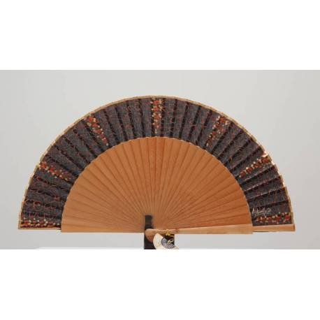 Spanish hand fan with certificate. Painted and handmade, natural black. clasic