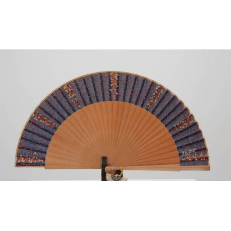Spanish hand fan with certificate. Painted and handmade, natural blue