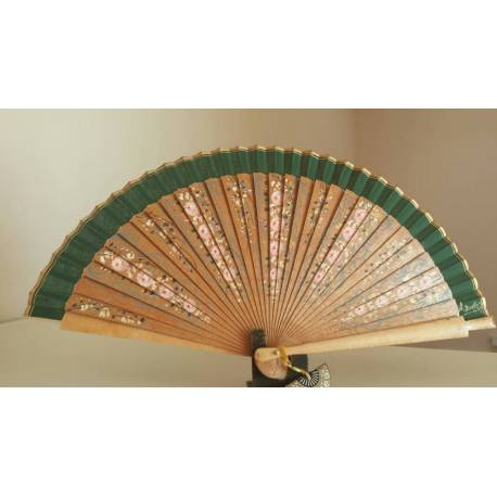 Spanish hand fan with certificate. Painted and handmade, natural green