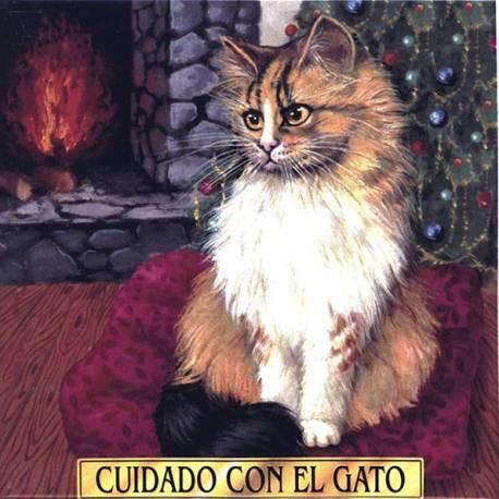 Tuile en céramique avec mon chat. cheminée, à la main. paris