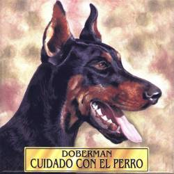 Ceramic tile with my dog. doberman. handmade