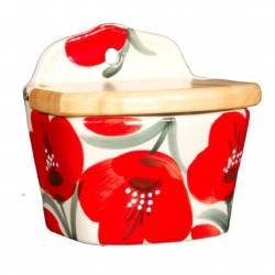 Saltshaker ceramic wall with poppies. handmade
