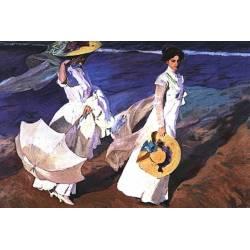 Fliese. Damen am Strand der Sorolla. mit Rahmen enthalten. handgemachte