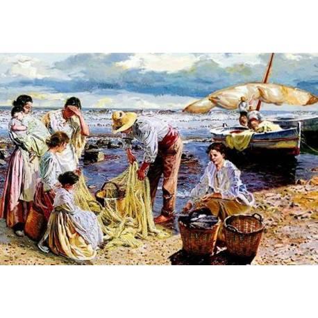 Tuile décorative. pêcheurs de sorolla. avec cadre inclus. à la main