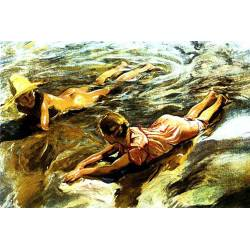 Decorative tiles. Children sorolla Beach. with frame included. handmade