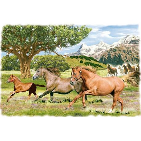 Baldosa decorativa. caballos. hecho a mano